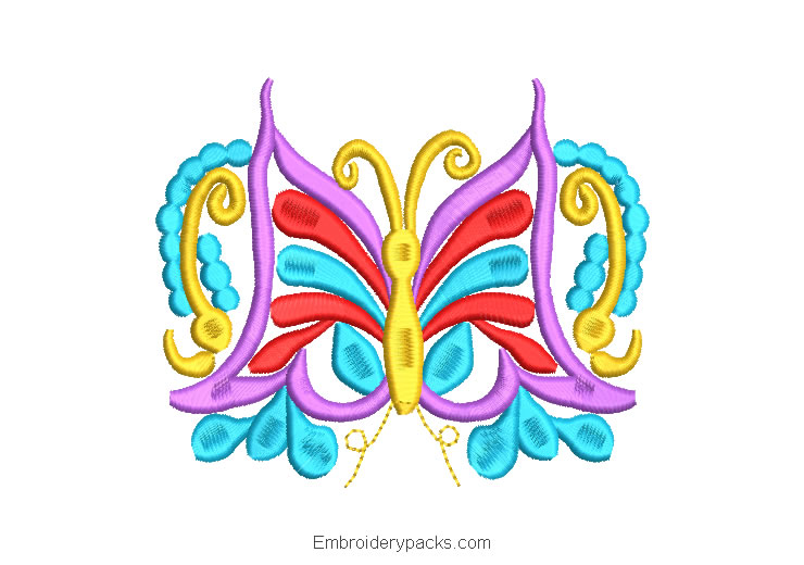 Colorful Butterfly Embroidered Design