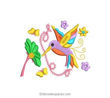 Colorful Colibri Embroidered Design with Flowers