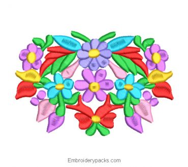 Colorful Flowers and Leaves Machine Embroidery Design