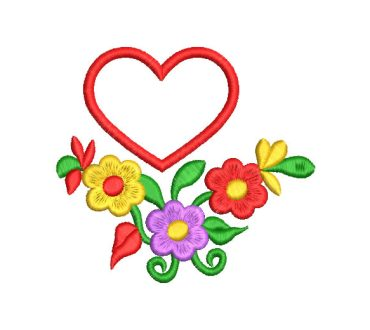 Colorful Flowers with Heart Embroidery Designs