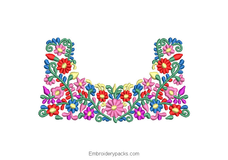 Colorful bright flowers embroidered design