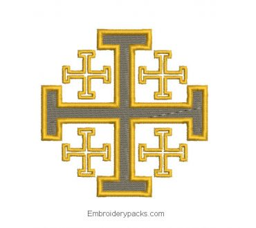 Cross embroidered design of jerusalem