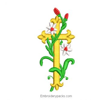 Cross embroidery design with branches and flowers
