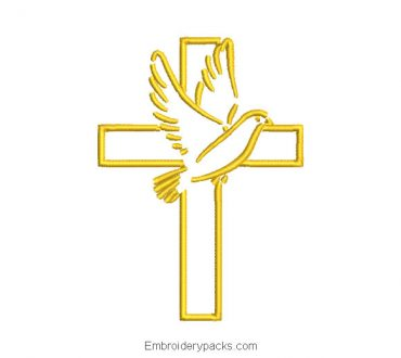 Cross embroidery with dove of the holy spirit