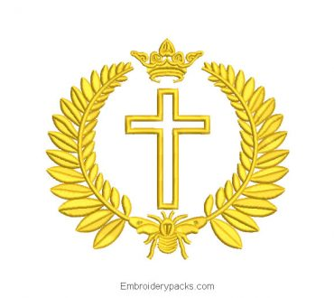 Cross with Crown Embroidery Design