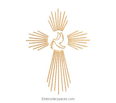 Cross with dove embroidery design