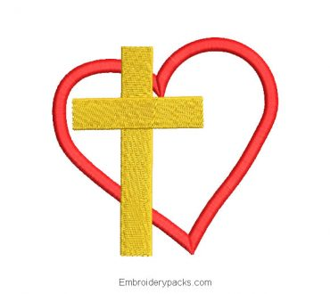 Cross with heart embroidery design