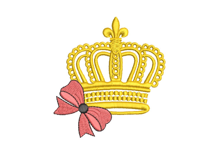 Crown with bow Embroidery Designs