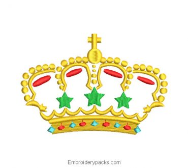 Crown with star embroidery design