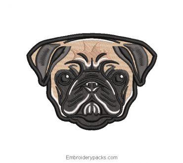 Cute dog face embroidery design