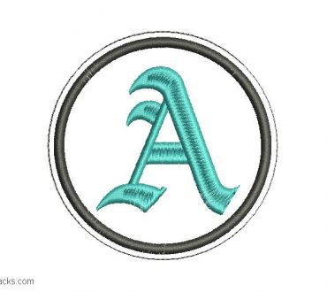 Embroidery Letter A Design in Free Gothic Font