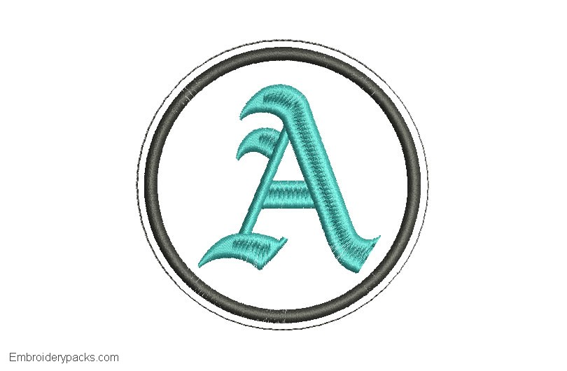 Design Embroidery Letter A in Gothic Font