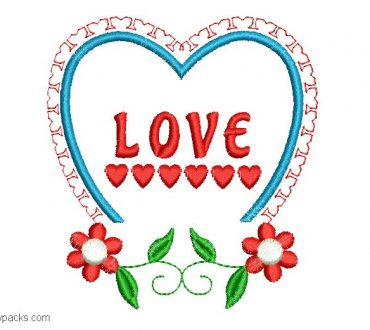 Design Embroidery of Flowers with Heart