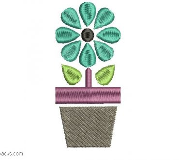 Design Embroidery of Potted Plants