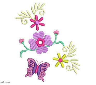 Design Embroidery of flowers and Butterfly