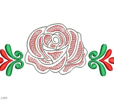 Designs Embroidered Rose with Leaves