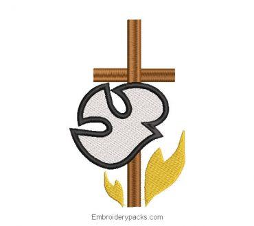 Dove with Cross Machine Embroidery Design