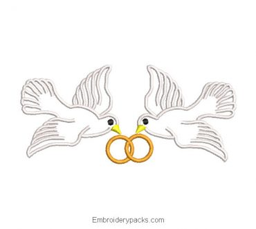 Doves with wedding rings embroidery design