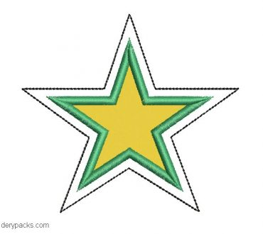 Embroidered star design with application