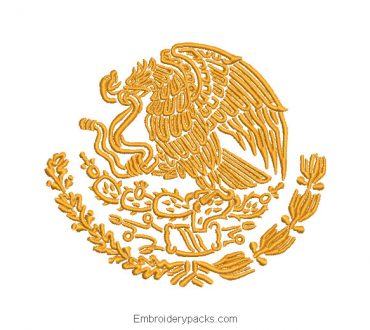 Eagle Shield of Mexico for Machine Embroidery