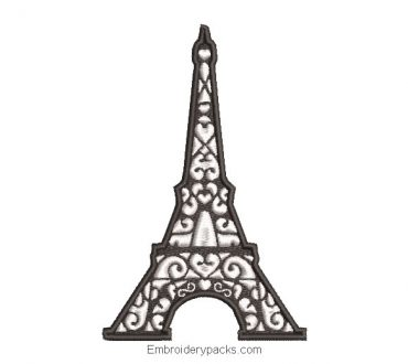 Eiffel tower embroidery design with hearts
