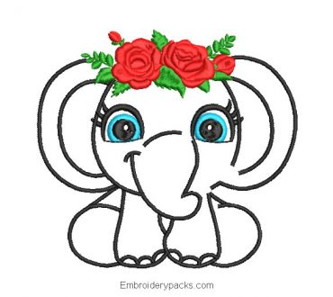 Elephant with roses embroidery design