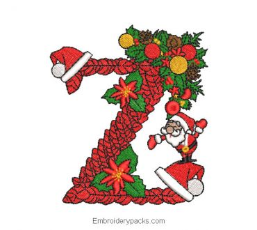 Embroidered Christmas Z Design with Decoration