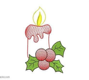 Embroidered Christmas candle design for embroidery