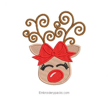 Embroidered Christmas reindeer with bow design