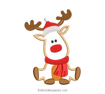 Embroidered Christmas reindeer with scarf design