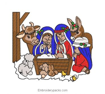 Embroidered Design Birth of Jesus in Bethlehem