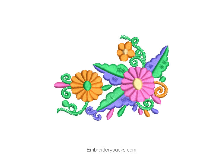 Embroidered Design Bouquets of Flowers with Colorful Decoration