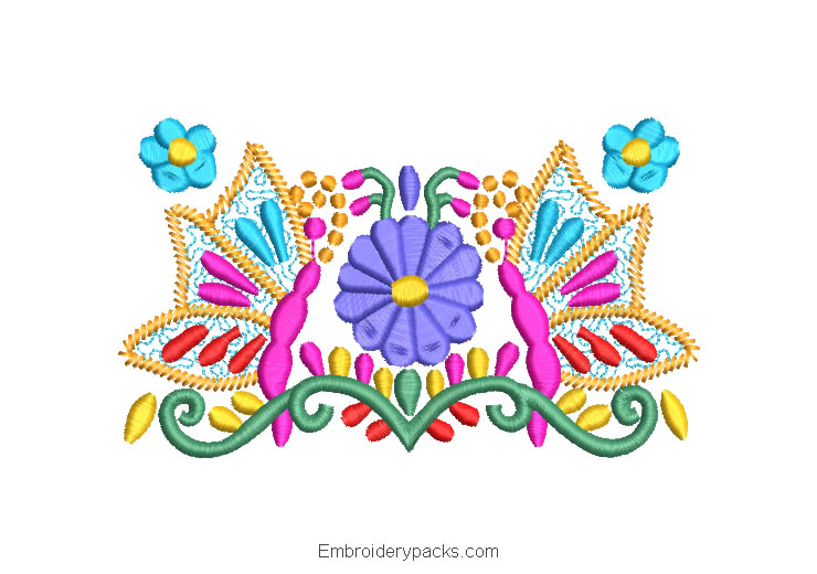 Embroidered Design Colorful Flowers with Butterfly