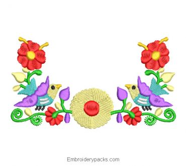 Embroidered Design Colorful Flowers with Dove