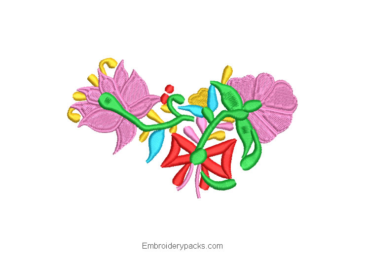 Embroidered Design Colorful Flowers with bow