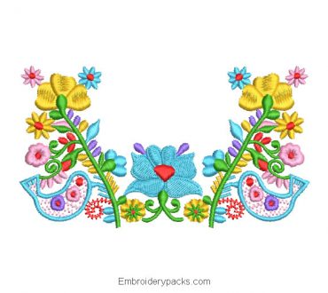 Embroidered Design Flower Branch with Colorful Dove