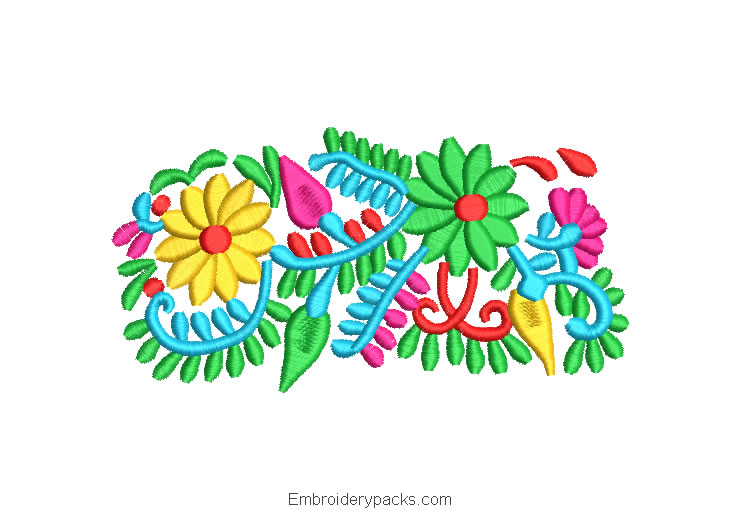 Embroidered Design Flowers and Colored Branches