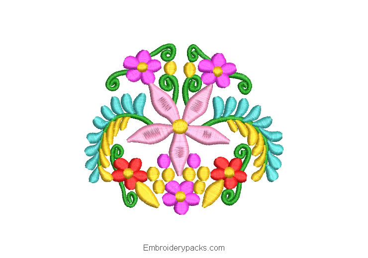 Embroidered Design Flowers and Colorful Branches