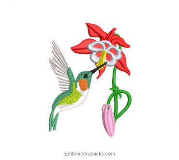 Embroidered Design Hummingbird Pecking a Flower
