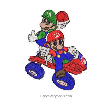 Embroidered Design Mario Bros and Luigi in Car