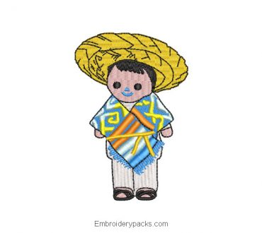 Embroidered Design Mexican Child Doll