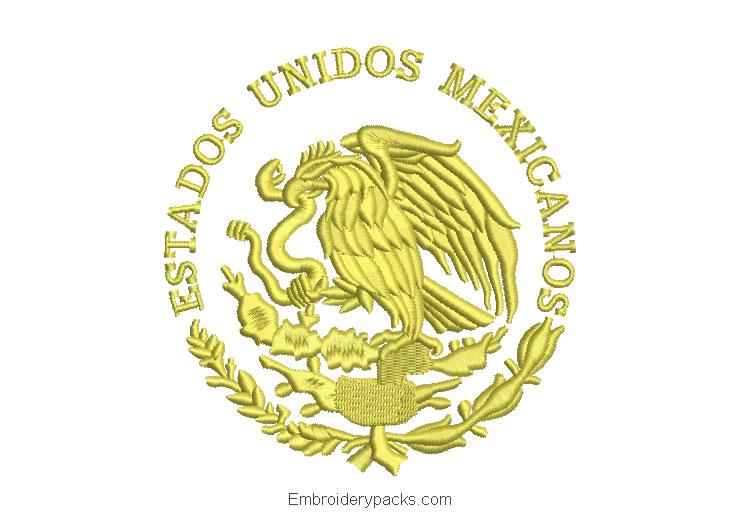 Embroidered Design Mexico Eagle Shield
