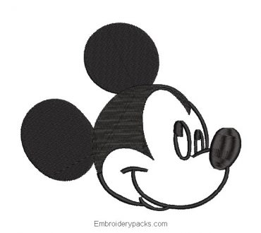 Embroidered Design Mickey Mouse Face Winking