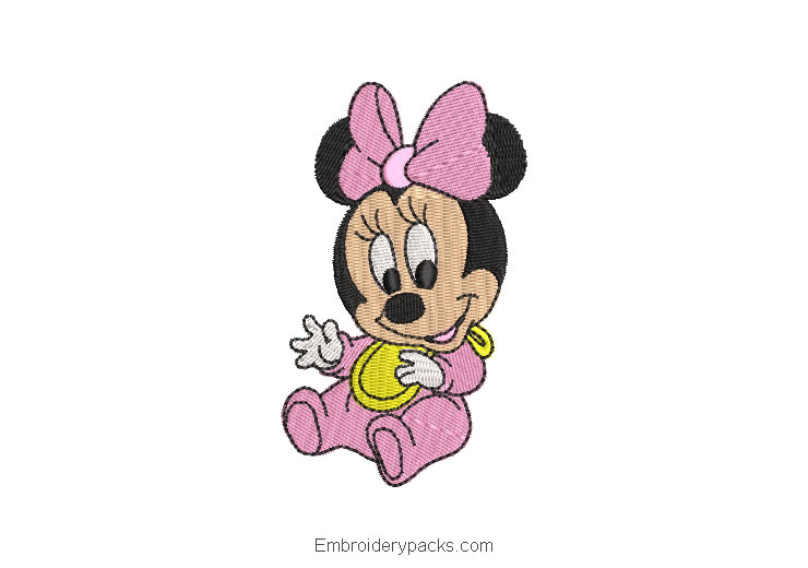 Embroidered Design Minnie Mouse Cheerful Baby