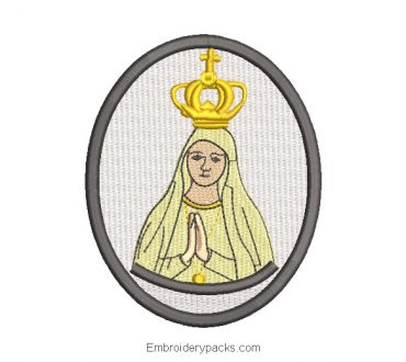 Embroidered Design Picture of Virgin Mary Praying