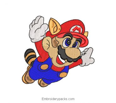 Embroidered Design Super Mario Bros Raccoon