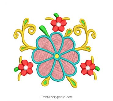 Embroidered Design of Colorful Flowers with Decoration