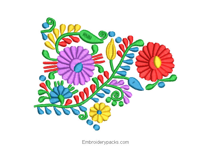 Embroidered Design of Colorful Flowers with Green Leaves