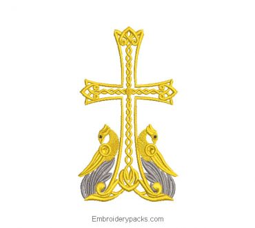 Embroidered Design of Religious Cross with Bird