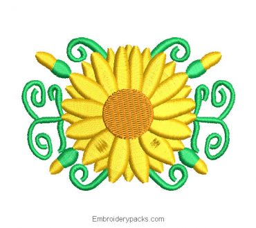 Embroidered Design of Sunflowers with Branches